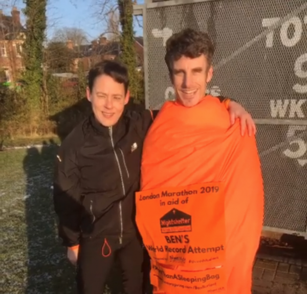 Nightshelter supporter attempts World Record sleeping bag marathon run
